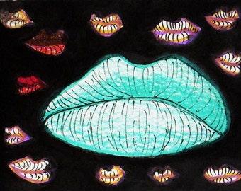 The Lips - Original Mixed Media Art