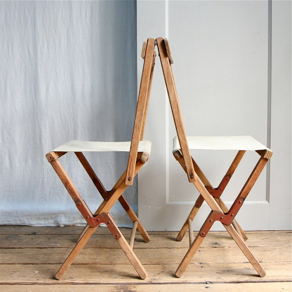 Vintage Rustic Folding Camp Chair Stool Canvas