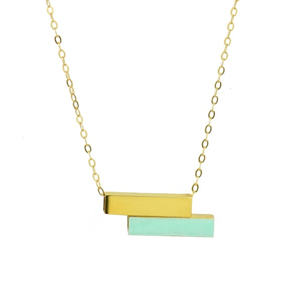Gold Bar and Mint Green Enamel Necklace // Minimal + Modern Silver Enameled Turquoise Tube Necklce on Silver Chain