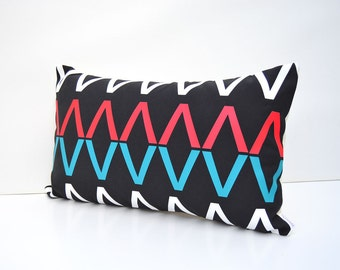Black cotton lumbar pillow cover with geometric design -Signage