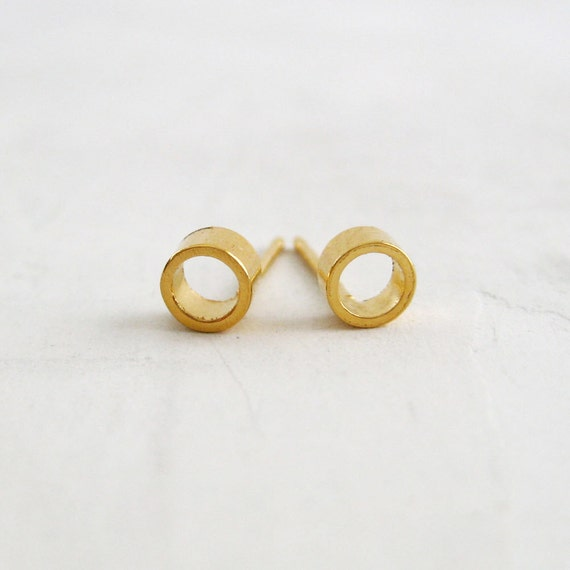 Circle Post Earrings   solid gold stud earrings   minimalist jewelry   gift for her gift for her