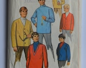 "1968 vintage original Simplicity 7889 sewing pattern for men's turtleneck shirt and cardigan jacket chest 38"" to 40"""