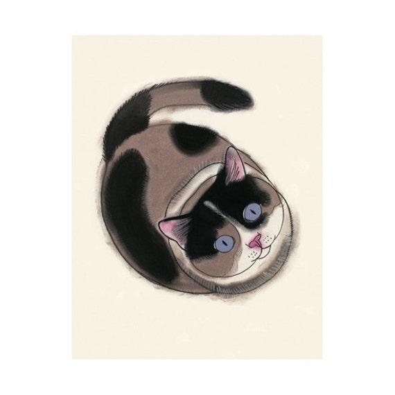 "Cat art illustration tortoiseshell cat - 4 for 3 SALE - You are so Tall   - 4"" X 6"""