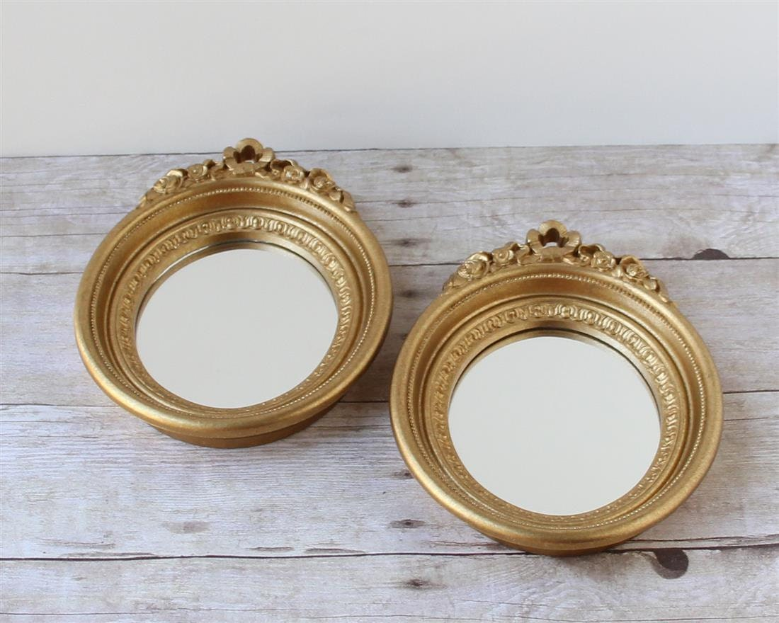 Small Gold Oval Mirrors / Metalic Circular By Whateverislovely