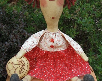 Cherry Ann EPATTERN...primitive country cloth doll craft digital download sewing pattern...PDF...1.99