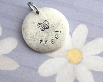 "Butterfly Freedom .. Medium Disc 3/4"" charm .. antiqued silver, copper, gold .. customize name, birthday, date, gift, garden, springtime kid"