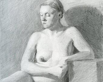Original Drawing Nude Female Graphite Figure Drawing - Autumn