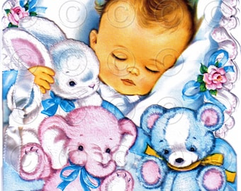 NEW BABY -- (Style 3) Baby and Childrens Greetings Vintage Nursery Digital Image Illustration