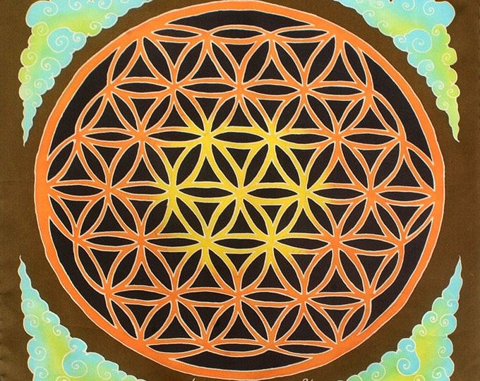 "Silk Scarf Hand Painted. Flower of Life Scarf. Hand Painted on Satin Silk. Square 21""x21""."