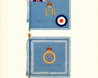 Vintage Chart of Flags of the Royal Air Force United Kingdom Queen Royal Air College
