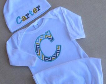 Personalized Baby Gown Cap Monogrammed Name Initial Chevron Sleeper Sack Beanie Hat Newborn