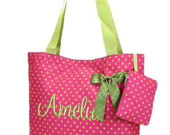 Personalized Tote Bag Hot Pink Lime Polka Dots  Monogrammed Dance Cheer
