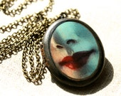 Oval Red Lips Locket - Oval Blue Face Locket - Victorian Inspired - Made in USA - Brass Locket - Oval Locket - Face Image - Lips - Blue -Red