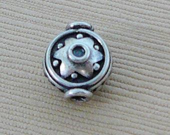 Sterling Silver Bead, Oxidized Patina Round dot star design Lentil