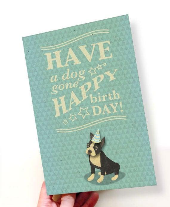 Printable PDF Cute Boston Terrier Birthday Card Blue White – Birthday Card Pdf