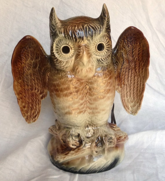Mint Kron Ceramic Owl Tv Lamp Vintage Night Light Lite Mid