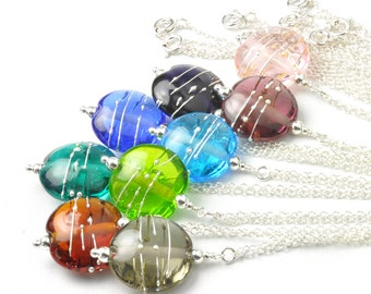Lampwork Glass Necklace | Colourful Glass and Sterling Silver Necklace | Handmade Lampwork Glass | UK