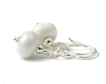 White Earrings | Sterling Silver and Lampwork Glass | Pearl White Earrings | UK Jewellery | Gift Boxed