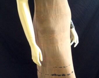 Dress Silk Tank Full Length Catherine Bacon Bias Cut Neutral Colors Primitive Hand Dyed Painted Appliqués