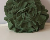 Small Ruffle Rose Pillow in Woodland Green. Eco friendly recycled materials.