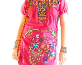 Mexican dress hand embroidered bohemian chic indie gypsy