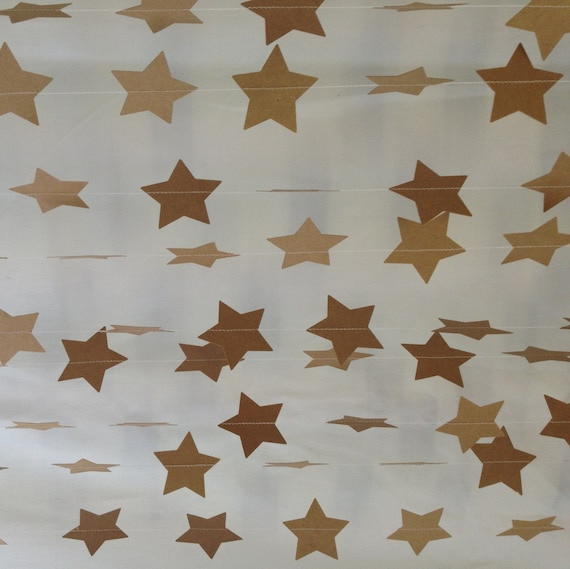 3 metres natural christmas star garland vintage shabby chic for Shabby chic garland lights