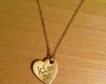 Kiss Me Gold Candy Heart / Conversation Heart Necklace