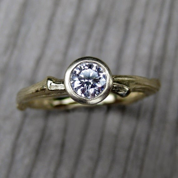 Diamond Twig Engagement Ring in Recycled Gold, .25ct SI/GH Diamond