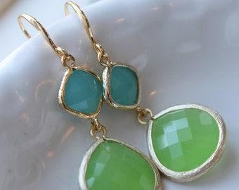 Turquoise Blue, Apple Green, Gold Framed Earrings, Gold Finish, Semi Translucent, Dangle Earrings