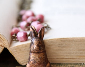 Rabbit Necklace, Bunny Rabbit Pastel Pink Beaded Necklace Antiqued Brass Chain Peter Cottontail Vintage Rabbit Pendant Garden Bunny Jewelry