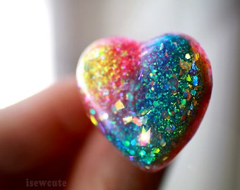 Waterproof Beach Jewelry Rainbow Ring ...a sparkly summertime heart shaped party glam ring full of glitter... handmade by isewcute