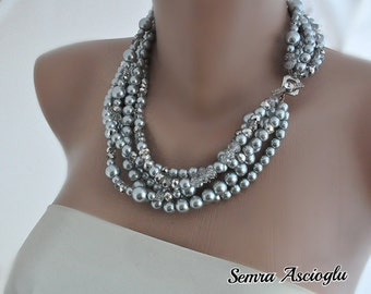 Pearl Necklace, Weddings Crystal and Silver  Necklace,  Brides Necklace, Bridesmaids Gifts