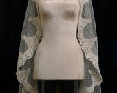Ivory Swiss Dot Mantilla Veil With Dark Ivory Alencon Lace And Crystals