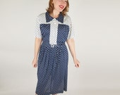 60s Navy & White Polka Dot Knit Belted Dress - Plus Size