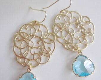 Aquamarine Earrings, Gold Filigree, bohemian, Teardrop, Medallion Earrings, Wedding Jewelry, Bridesmaid Earrings