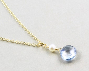 Blue Quartz Drop Necklace, White Pearl Necklace, Bridesmaid Gift