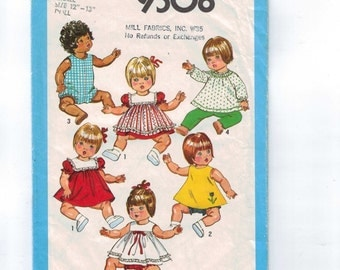 1980s Vintage Sewing Pattern Simplicity 9508 Toddler Baby Doll Wardrobe 12 13 Inch Romper Dress 1980 80s INCOMPLETE  99