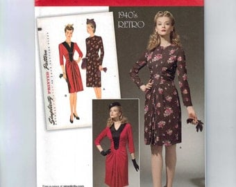 REPRODUCTION Misses Sewing Pattern Simplicity 1777 0261 Retro 1940s Style One Piece Shirred Dress Size 6-14 or 16-22 UNCUT
