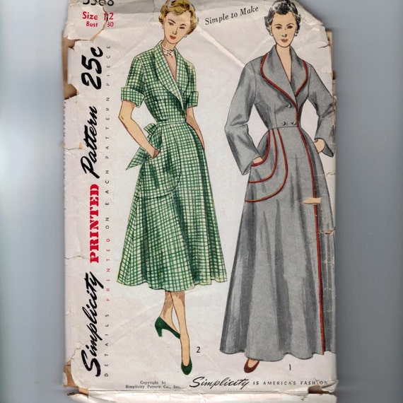 1950s Vintage Sewing Pattern Simplicity 3368 Misses Brunch Coat Housedress Dress Size 12 Bust 30 1950 50s
