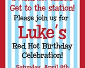 Fire Truck Red Hot Birthday Celebration Invitation and Party Pack