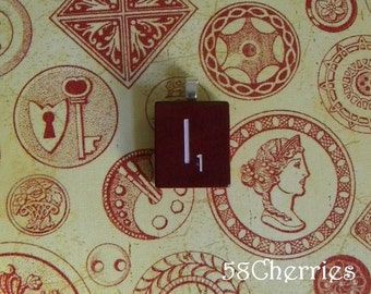 """Mahogany Vintage Scrabble Tile Pendant - """"I"""" - Choose your letter - Eclectic Jewelry - Steampunk Chic - Upcycled"""
