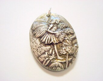 Garden Fairy Handmade Polymer Clay Pendant