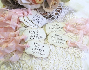 Baby Girl Shower Favor Tags - Its a Girl - Parchment Double Sided Customized Personalized - Set of 18 - Choose Ribbons - it's a girl