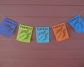 Banner with name or saying with a Fiesta Guitar design Tissue Paper Papel Picado garland bunting