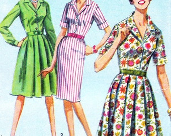 1960s Dress Pattern Simplicity 5877 Womens Front Button Full or Slim Skirt Shirtdress Vintage Sewing Pattern Bust 32