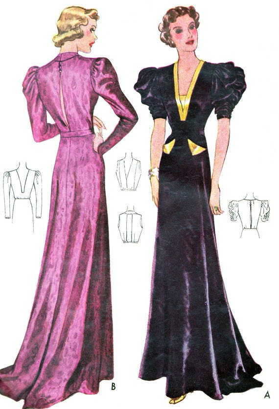 1930s Evening Dress Pattern McCall 9451 Plunging Neck Puff Sleeve Evening Gown with Train Womens Vintage Sewing Pattern Bust 36