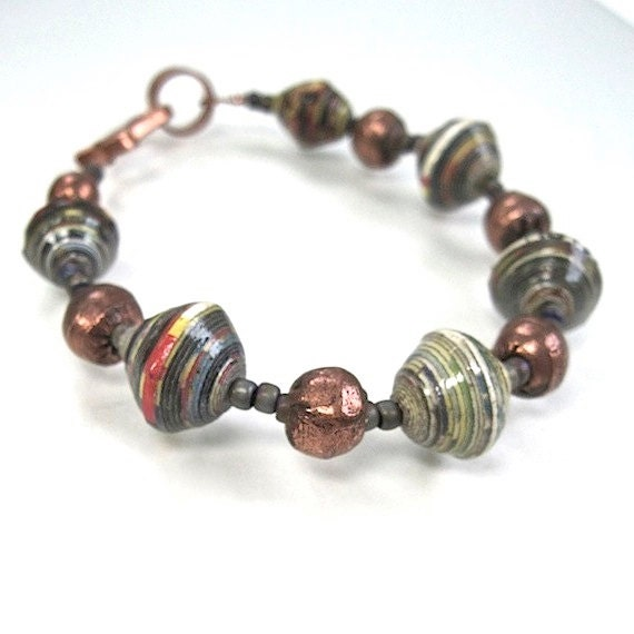 African Bead Bracelet Handmade Paper Copper Trade Beads