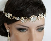 Wedding Hair Accessory Gold Forehead Band Vintage Headband Swarovski Rhinestone Halo Headpiece RYAN