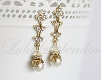 Art Deco Earrings Bridal Earrings Gold Earrings Wedding Earrings Pearl Rhinestone Vintage Wedding Jewelry Delicate Earrings NEVE