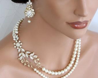 Wedding Pearl Necklace Vine Leaf Gold Bridal Necklace Swarovski Ivory White Pearl Art Deco Wedding Jewelry NEVE